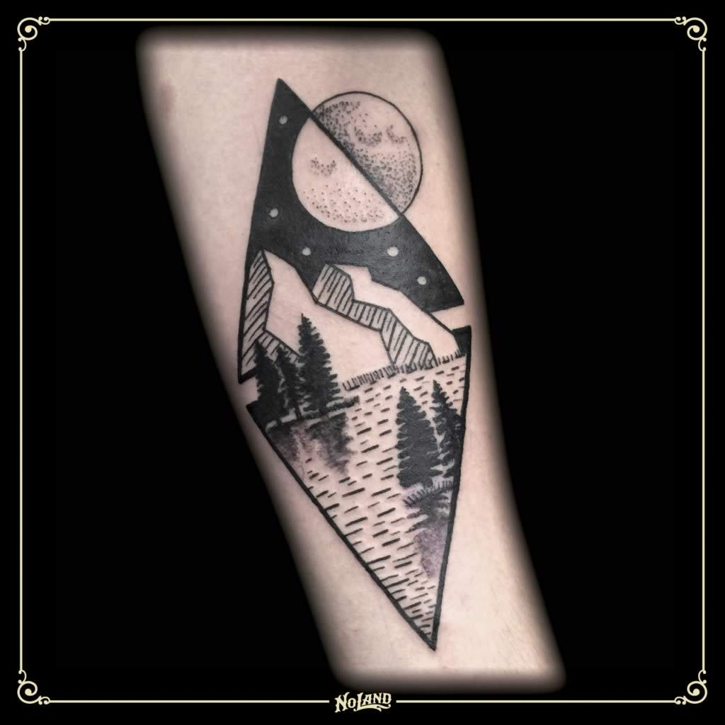 Isa Santana paisaje dotwork blackwork no land tattoo