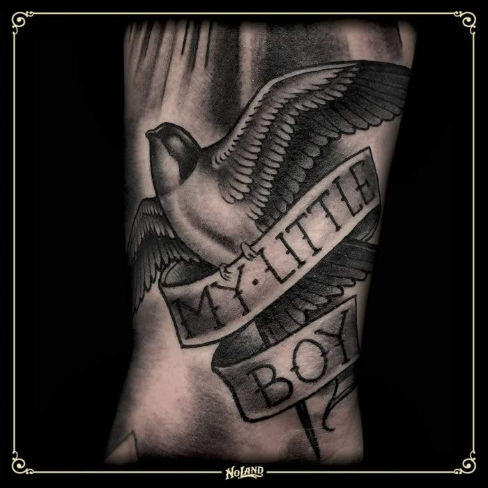 Richard Sorensen swalow tattoo black & grey no land
