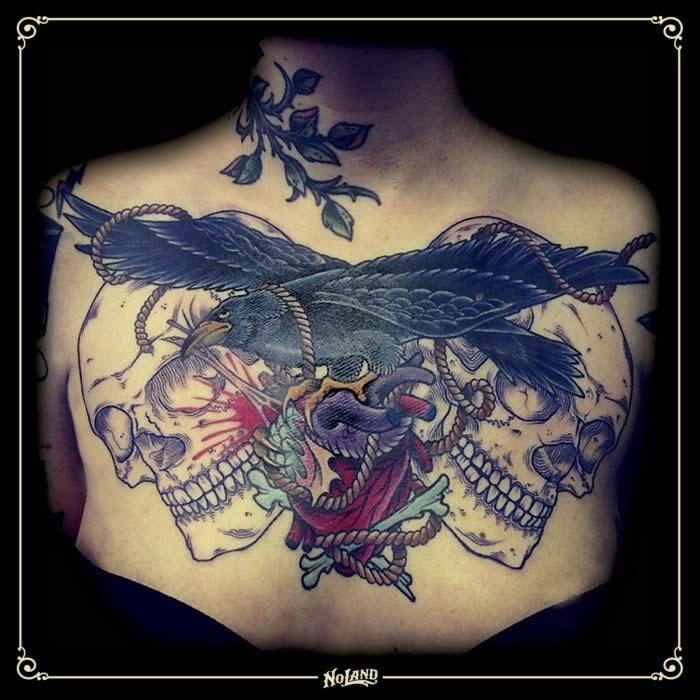 Sento chestpiece neotraditional no land tattoo