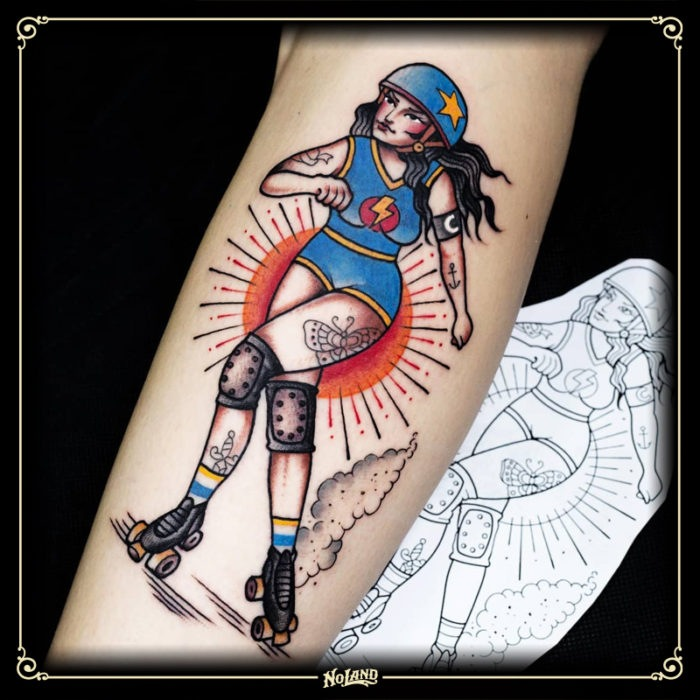 miguel comin no land tattoo parlour tradicional roller derby