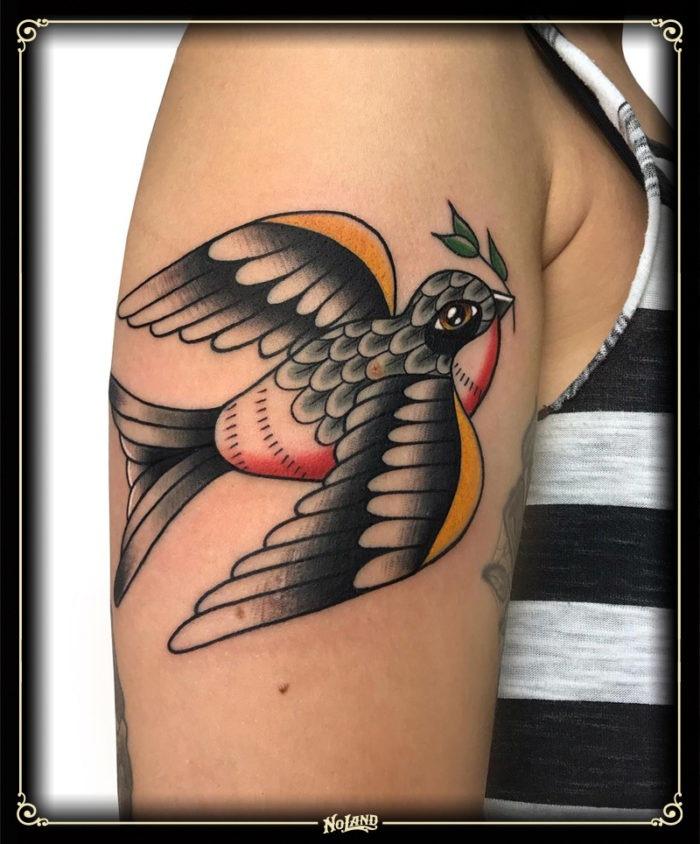 antonio polo no land tattoo parlour tradicional traditional bird paloma pajaro