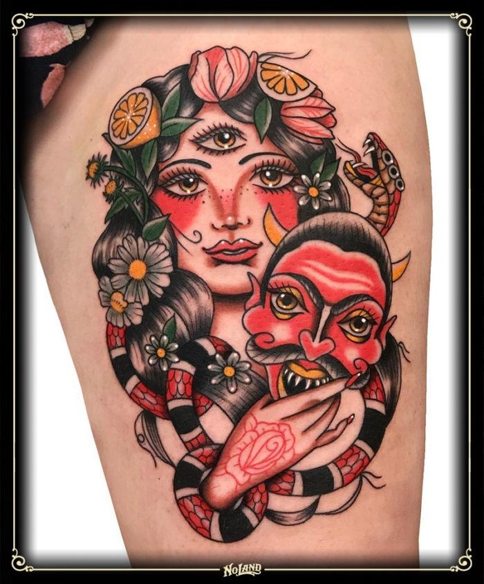 antonio polo no land tattoo parlour tradicional traditional chica demonio evil girl