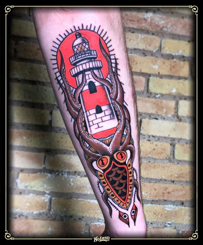 isa santana no land tattoo parlour traditional calamar faro lighthouse
