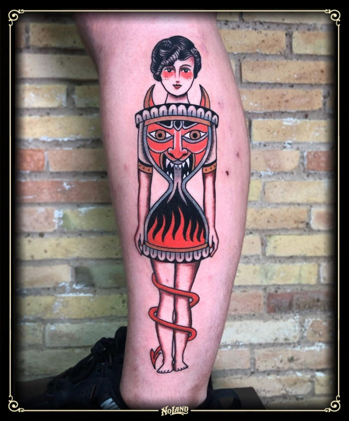 isa santana no land tattoo parlour traditional chica glashour reloj satan