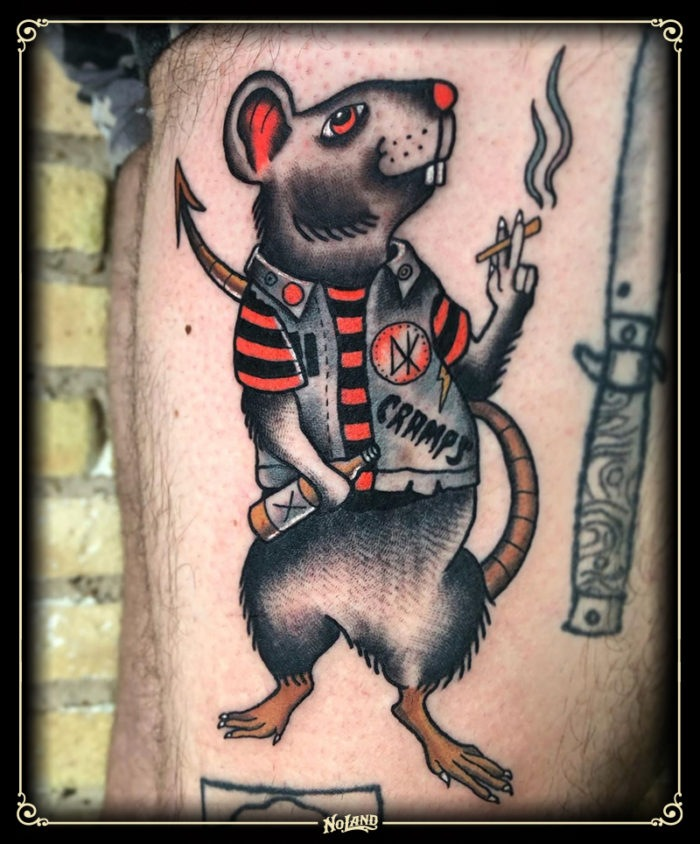 isa santana no land tattoo parlour traditional rata punk rat