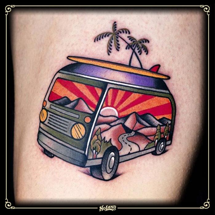 miguel comin no land tattoo parlour tradicional surf van