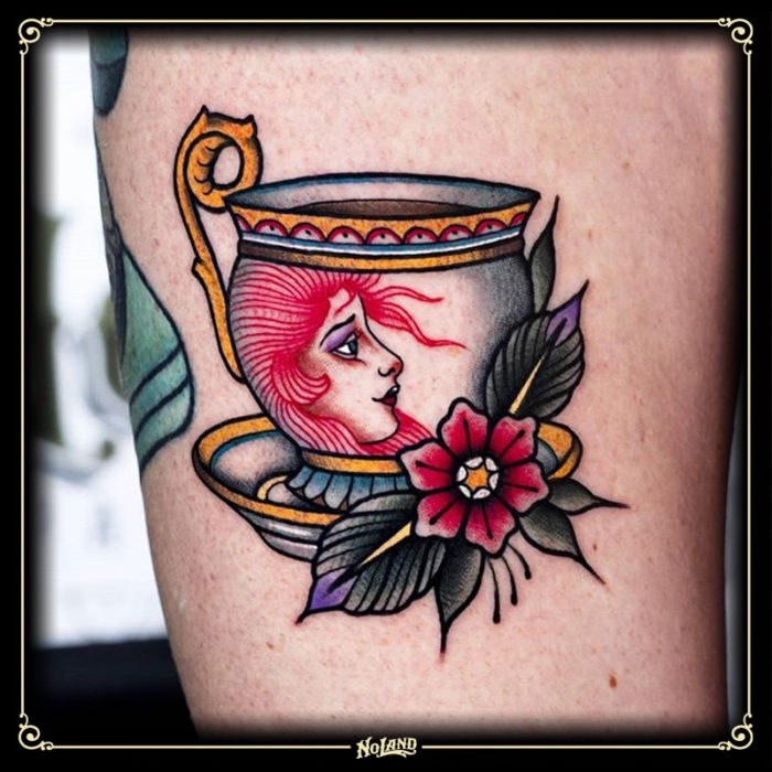 miguel comin no land tattoo parlour tradicional taza cup